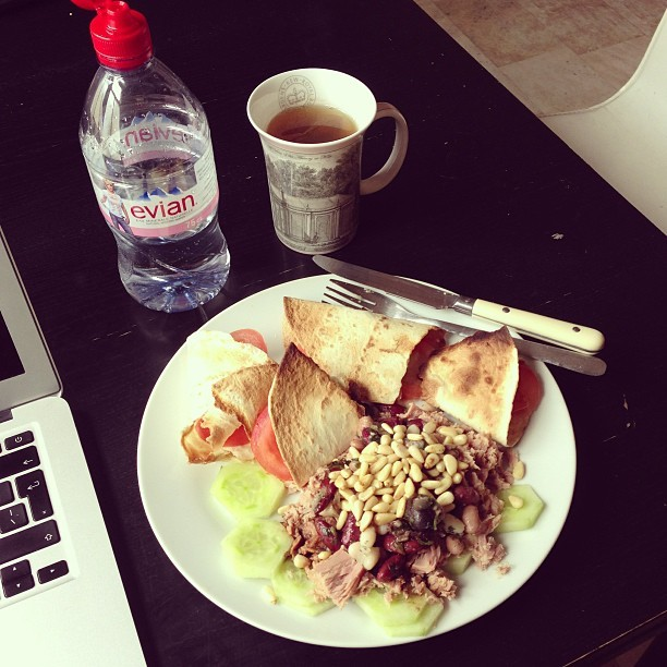 Healthy lunch. Tuna and three bean salad with little tomato and mozzarella tortilla wraps. #eatclean #nike #weownthenight #ellerun #food