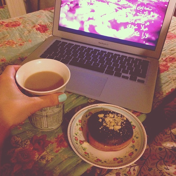 Settling down with a Krispy Kreme donut and a cup of earl grey tea watching the film Caramel. #sleepysaturday