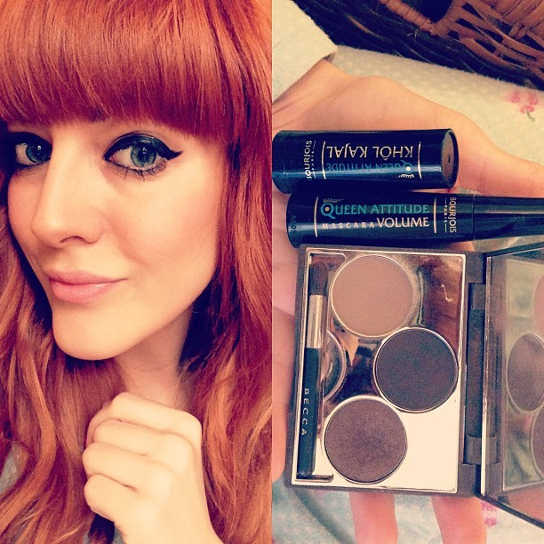 #BLOGGED Trying out the @bourjois_uk Queen Attitude Khôl Kajal black eyeliner. How very Cleopatra! This stuff just glides on, such a dream to use. Their Queen Attitude mascara is very nice too. I used the #BECCA Balearic Love eyeshadow palette: Marcella - base, Atlas - smokey eye shading. #bbloggers #beauty #triedandtested #makeup #bourjoisparis #girl #eyeliner #eyes #redhead #FOTD