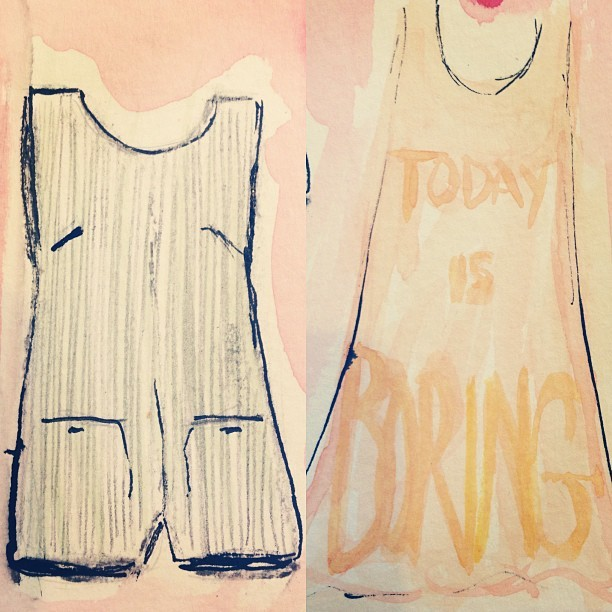Doing a bit of @KellyShawLondon @ybdfashion inspired doodling to #Occupy myself before #LFW this afternoon. #SS13 #Fashion #illustration #drawing #watercolour #indianink #playsuit #dress #summer