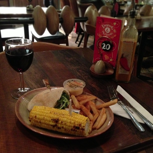 Despite the intention of being a good girl, heading to supermarket, buying food & cooking for myself… I lost my way and ended up in @nandos with a large glass of red.