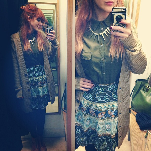 #todayimwearing mainly a hangover… paired with a @topshop casual military shirt, a paisley print skirt, a spike & pearl statement Topshop necklace, Aiden zip-up ankle boots and a Primark cardigan. My little Sophie Hulme @ybdfashion bag is just peeping out of the corner of the photo.