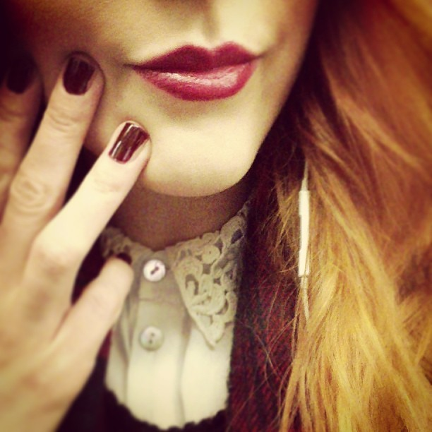 Lips & nails. Going dark and vampy this evening to add a nice bit of contrast to my pretty crochet collar blouse.
