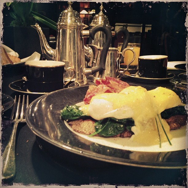 Eggs Florentine with pancetta, a great breakfast @blakeshotel. @marcosdot would be proud!