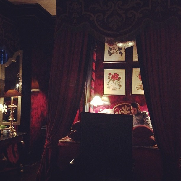It even has a four poster bed! I feel like we're in Paris @blakeshotel. @jmgcreative - The boy done good! #luxury #places #hotel #london #love #southkensington #instapic #instagram #interiordesign #french #red #romantic