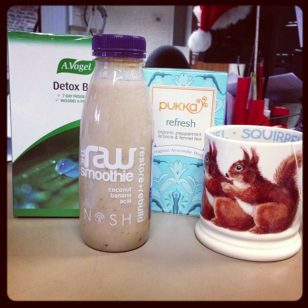 Bought myself a @OliverWholefood's  @avogeluk 7 day Detox Box, @noshdetox coconut, banana and açai smoothie, and a box of @pukkaherbs refresh tea. #NewYearNewMe #Detox. #happynewyear #newyearsresolution #healthy #girl #me