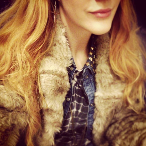 #todaywearing an assortment of texture (faux-fur), Tie-dye and denim with a smattering a studs and gold cross earrings, which I think we're about £1 from #Primark! #Fashion #style #blogger #whattowear #inspiration #photo #me #girl #redhead #hair #print #fblogger #clothes #ootd #wiwt #instapic #outfit #whatiwore #igdaily #london #fashiondiaries #aw12 #instafashion