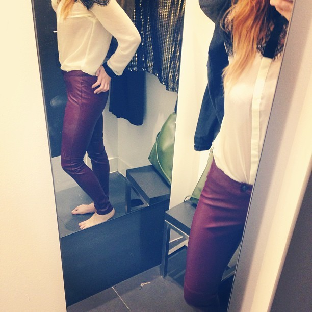 What do you think? I wanted these @hmunitedkingdom oxblood skinny leather trousers so much but now I've got them on, I'm not sure? #Fashion #style #blogger #whattowear #inspiration #photo #me #girl #redhead #hair #print #fblogger #clothes #ootd #wiwt #instapic #outfit #whatiwore #igdaily #london #fashiondiaries #aw12 #instafashion