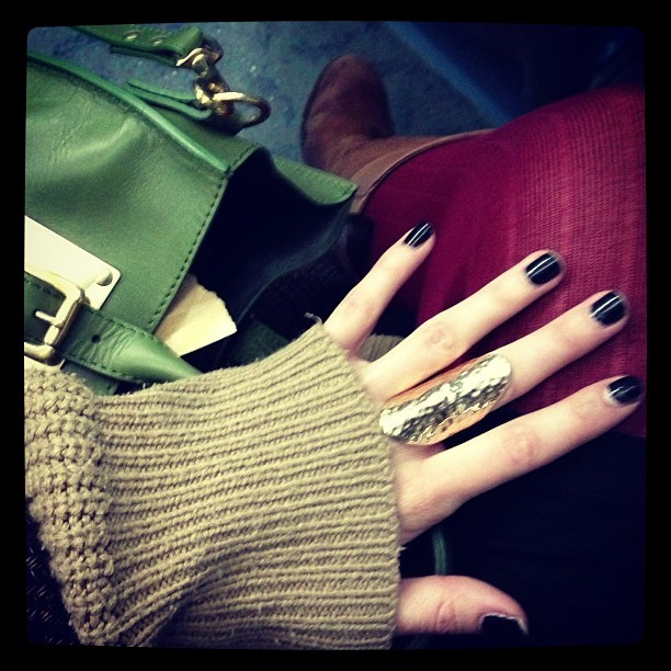Black and gold! I bought this bargain gorgeous dimpled gold shield-like statement ring from #Primark last night for about £2! #Todayimwearing A rather festive colour palette, ruby red wool @topshop tights, @sophie_hulme @ybdfashion Green Tote bag & Coal Black #URBeautique nails. #Fashion #style #blogger #whattowear #inspiration #photo #me #girl #redhead #hair #print #fblogger #clothes #ootd #wiwt #instapic #outfit #whatiwore #igdaily #london #fashiondiaries #aw12 #instafashion #youngbritdesigners