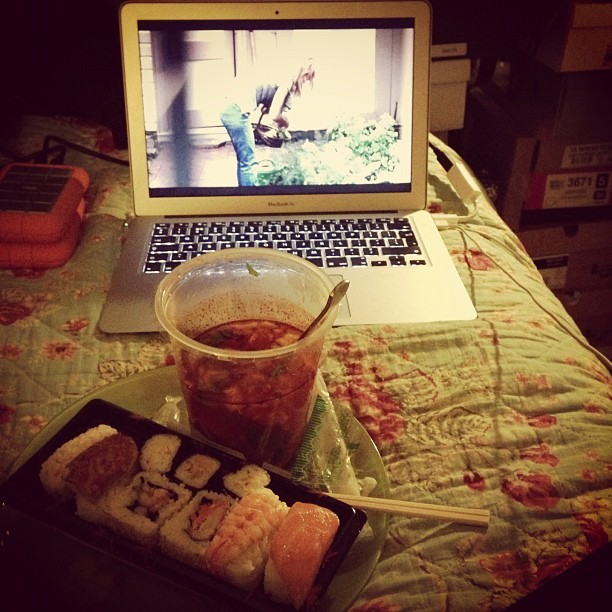 Oh #Homeland. I forgot how bloody BRILLIANT you are! Just settling into Season 2 with Sushi & Tom Yum Soup. #win