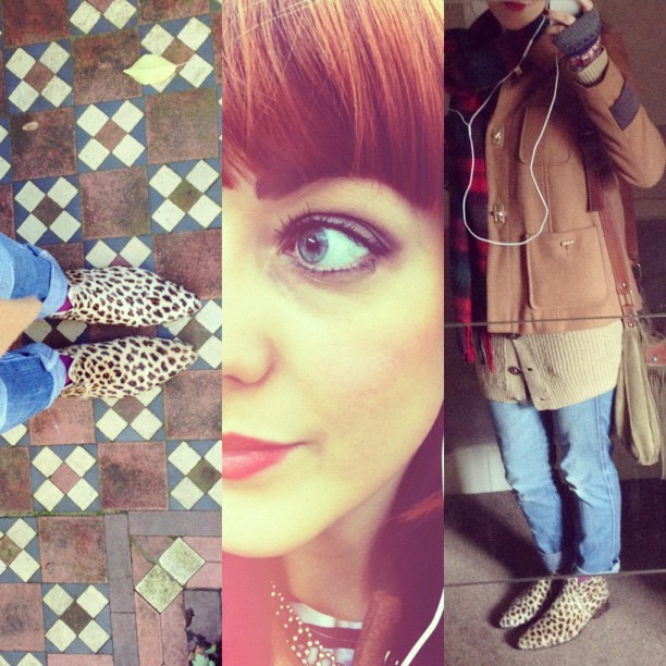 #todayimwearing my @ybdfashion @RedByWolves #Albia Leopard Ponyskin Chelsea Boots, @levis #pattyanne skinny jeans, @drmartensofficial tartan scarf, camel wool coat & chunky knit cardigan (both #Primark) @BECCACosmetics #BalearicLove Eyeshadow, @TheBodyShopUK lip & cheek tint, #Boots #NaturalCollection  Translucent Mineral Foundation, £1.99, @Chanel vitalumiere liquid foundation and a touch of @avon_uk bronzer, @esteelauder doublewear concealer under eyes, and @dior #Diorshow Mascara. #Fashion #style #blogger #whattowear #inspiration #photo #me #girl #redhead #hair #print #fblogger #clothes #ootd #wiwt #instapic #outfit #whatiwore #igdaily #london #fashiondiaries