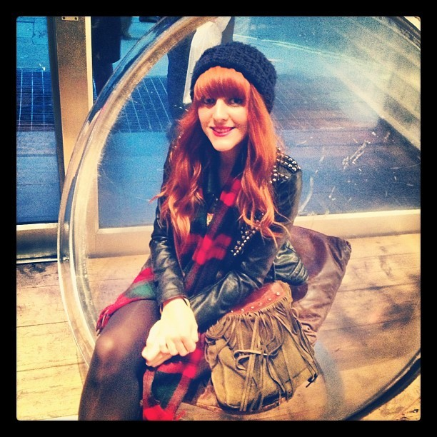 Hello Perspex bubble chair @phonicarecords #london #soho #vinyl #music #shop #me #todayimwearing #girl #redhead #whattowear #whatiwore #photo