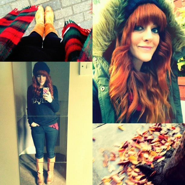 I absolutely love Autumn! The leaves on my street match my newly dyed #flamingcopper red hair! #todayimwearing my @topshop garçon knit, my #leigh black skinny jeans, @next_official tan leather riding boots, my @drmartensofficial tartan scarf and my #primark khaki parka jacket. #Fashion #style #blogger #whattowear #inspiration #photo #me #girl #redhead #hair #print #fblogger #clothes #ootd #wiwt #instapic #outfit #whatiwore #igdaily #london #instagood #autumn #leaves #england #loreal  (Taken with  Instagram )
