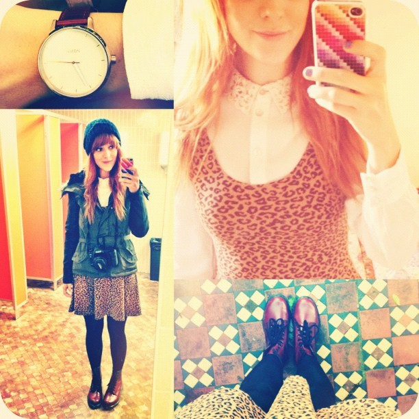 #todayimwearing my @topshop leopard print skater dress over a cream crochet collar crepe blouse, #CherryRed @drmartensofficial #1460 style DM's and my new #Primark khaki parka coat with faux leather sleeves, a bargain at £25! With my @nixon_now #TheKensington watch as #armcandy. #Fashion #style #blogger #whattowear #inspiration #photo #me #girl #redhead #hair #print #fblogger #clothes #ootd #wiwt #instapic #outfit #whatiwore #igdaily  (Taken with  Instagram )