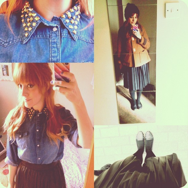 #todayimwearing my #primark denim shirt with #DIY studded collar and a @zaraclothes pleated faux-leather skirt with @topshop #vectra studded pumps and my camel coat. #fashion #style #blogger #AW12 #whattowear #inspiration #photo #me #girl #redhead #hair #studded #fblogger #clothes #ootd #wiwt  #instapic #outfit #whatiwore #igdaily #london #workwear #wardrobe  (Taken with  Instagram )