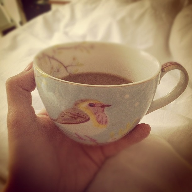 A cup of bird coffee in bed… I think I want to smuggle these cups with me to London @laveyloo #pipstudio #instapic #cute #pretty #coffee #instadaily #instagood (Taken with  Instagram )
