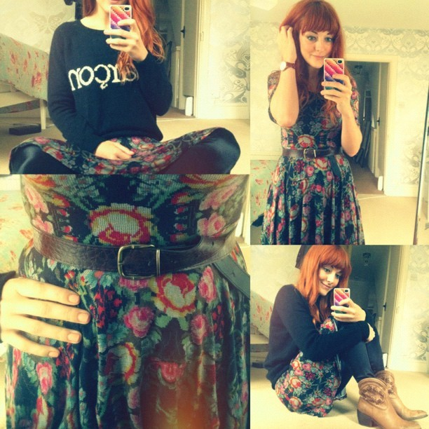 #todayimwearing @ASOS tapestry skater dress, @topshop #discopants & #garçon sweater, @ybdfashion @LamaPeach #Paige #Cowboy boots &  @nixon_now #thekensington watch. #armcandy #fashion #style #blogger #whattowear #inspiration #photo #me #girl #redhead #hair #print #fblogger #clothes #ootd #wiwt #instapic #outfit #whatiwore #igdaily  (Taken with  Instagram )