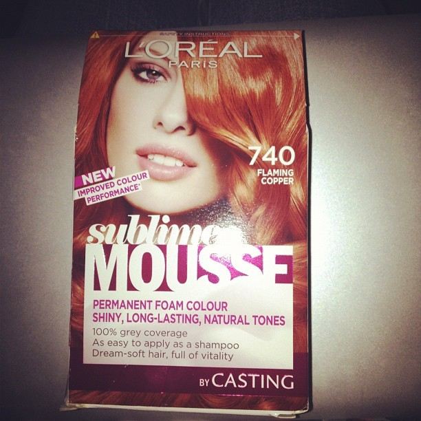 Hair dye time… My roots are terrible!    Using my favourite Flaming Copper redhead shade by @LorealParisUK from their Sublime Mousse home colour range.   (updated August 2013 - I think they've now discontinued it!! ARGHHHH!)