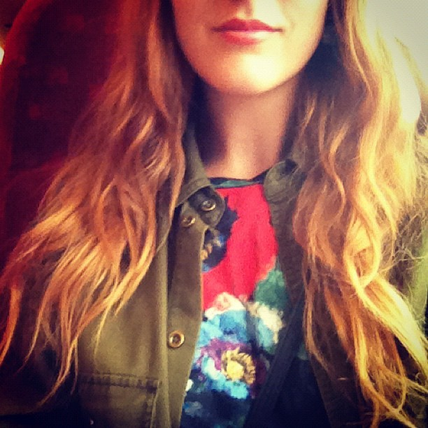 #todayimwearing my brightly coloured @topshop oversized poppy tee, a casual military shirt & melba coloured lip #polish to distract attention from my hungover face. #mojitos + #kopparberg = headache in the morning #fashion #style #blogger #whattowear #inspiration #photo #me #girl #redhead #hair #print #fblogger #clothes #ootd #wiwt #instapic #outfit #whatiwore #igdaily  (Taken with  Instagram )