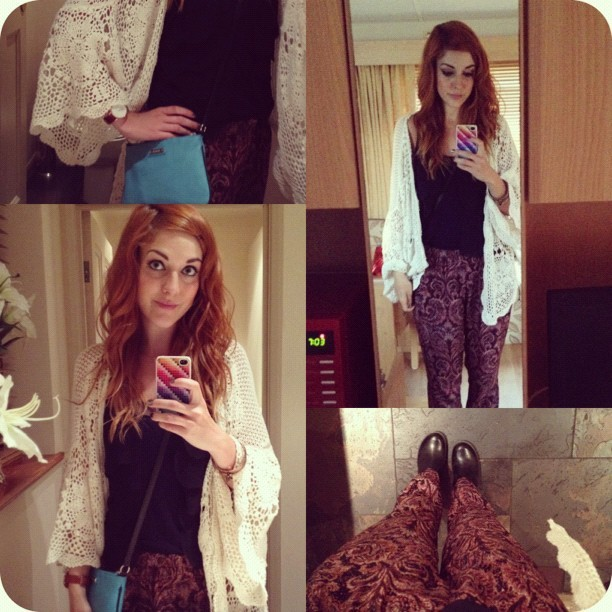 Taking my #todayimwearing  #ootd from #DayToNight by adding a pair of @drmartens heeled Chelsea boots & a @topshop crochet kimono to my new @zara silk printed trousers, navy vest and mango turquoise bag. A touch-up to my daytime makeup shifts it into evening-mode (Urban Decay Naked 2 eyeshadow palette is GREAT for a heavier eye, with a sweep of #Rimmel black liquid eyeliner and #MAC kohl eye pencil) Add to that a 'sophisticated' side-parting for the hair 'do and you're ready! #Fashion #style #blogger #whattowear #inspiration #photo #me #girl #redhead #hair #print #fblogger #clothes #ootd #wiwt #instapic #outfit #whatiwore #igdaily #evening  (Taken with  Instagram )
