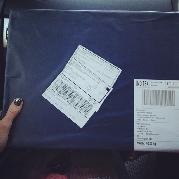 Ooh! I wonder what's in this box… My @Zara booty perhaps? Still waiting for my @ASOS Skater style #Tapestry dress. #giddywithexcitement #new #clothes #zara #aw12 #fashion #blogger #girl #shopping  (Taken with  Instagram )