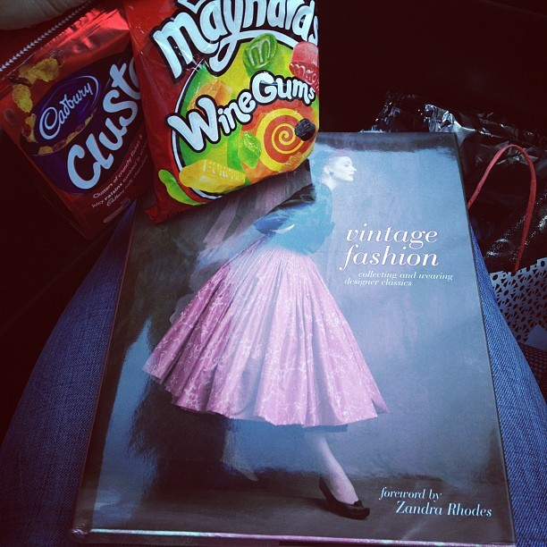 Just what you need on a long journey… Car #sweets! Cadbury's Clusters and Maynards Wine Gums, and an AMAZING birthday book on #vintage #fashion from @kayogilvie! I'm going to be very well read. #fblogger #gift #holiday  (Taken with  Instagram )