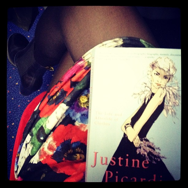 I'm reading my lovely leaving pressie #MyMothersWeddingDress by @JustinePicardie on my 2nd to last commute home from @MACEarchive Lincoln job :-S *sobs* This is a FABULOUS book for a clothes lover like me!! #readinglist #books #fashion  #blogger  (Taken with  Instagram )