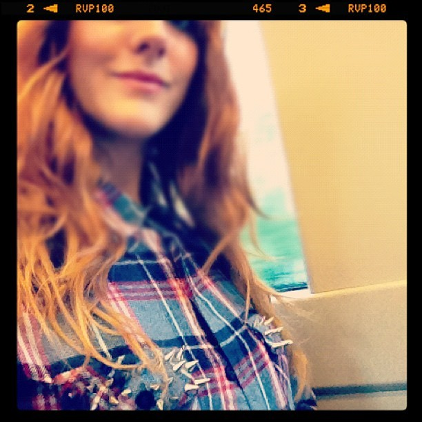 Haha! This is the first time I've worn my #DIY studded pocket check shirt.. Appropriately placed spikes! #handsoff #fashion #style #blogger #whattowear #inspiration #photo #me #girl #redhead #hair #print #fblogger #clothes #ootd #wiwt #instapic #outfit #whatiwore #igdaily  (Taken with  Instagram )