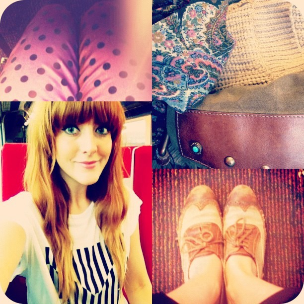 #todayimwearing A limited edition @marksandspencer geometric butterfly print oversized tee, new #primark plum coloured tapered trousers with black velvet polkadots, my old @topshop brogues and a big old chunky knit camel coloured cardigan & paisley scarf for good measure! #Fashion #style #blogger #whattowear #inspiration #photo #me #girl #redhead #hair #print #fblogger #clothes #ootd #wiwt #instapic #outfit  (Taken with  Instagram )
