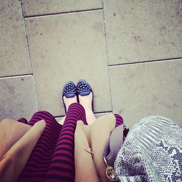 #todayimwearing my cute little raspberry & black striped #primark skater dress, black @topshop studded #vectra pumps, my tab silky @hmunitedkingdom boyfriend blazer & my @newlook_fashion snake print bag. #fashion #style #blogger #girl #me #dress #whattowear #instadaily #inspiration #bloggerstyle #iphone #iphonography #legs  (Taken with  Instagram )