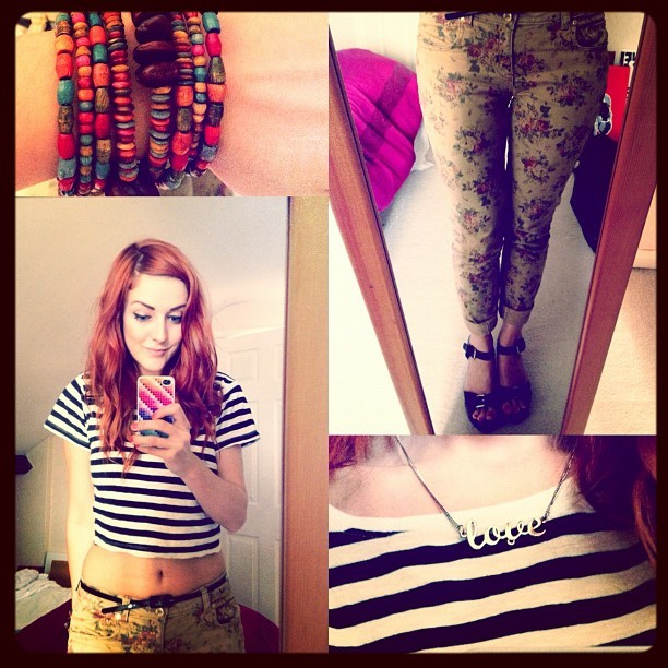 #todayimwearing my tan floral #Primark skinny jeans, a black & cream stripe cropped @topshop tee, colourful wooden beaded #armcandy and #studded wooden wedges & my #love gold necklace. #fashion #style #uk #blogger #me #girl #cropped #jeans #floral #print #redhead #hair #shoes #ootd #wiwt #selfie #britstagram #photo #iphone (Taken with  Instagram )