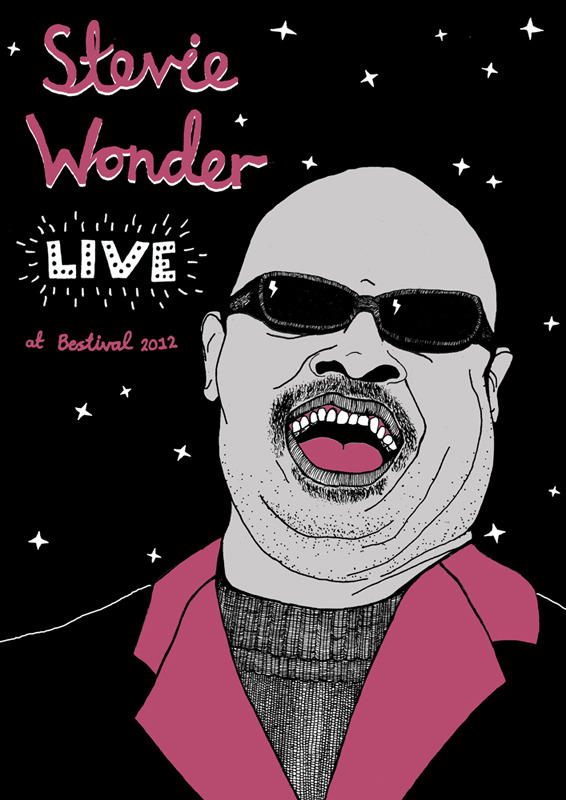 My AMAZING Illustrator/ Animator/ All-Round-Fabulous Creative BFF…    tryhardlaura :      Stevie Wonder    My entry for this years Bestival poster competition.