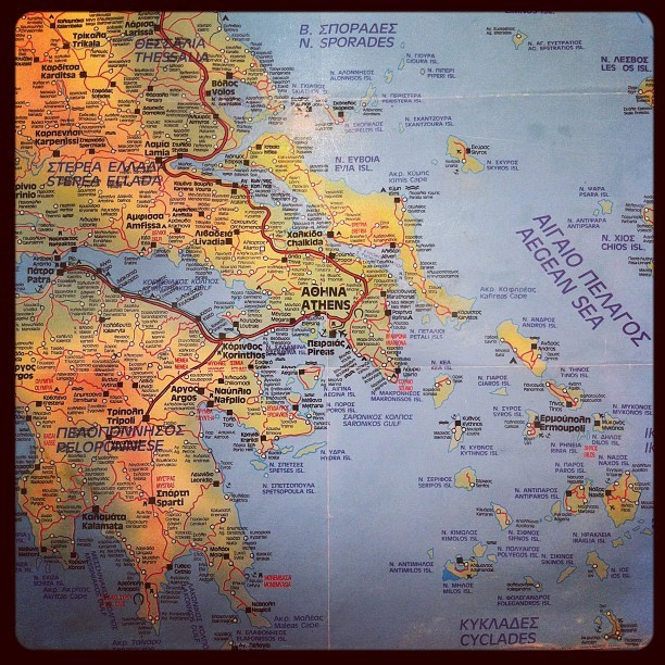 Map of the Greek Isles (Taken with  Instagram )
