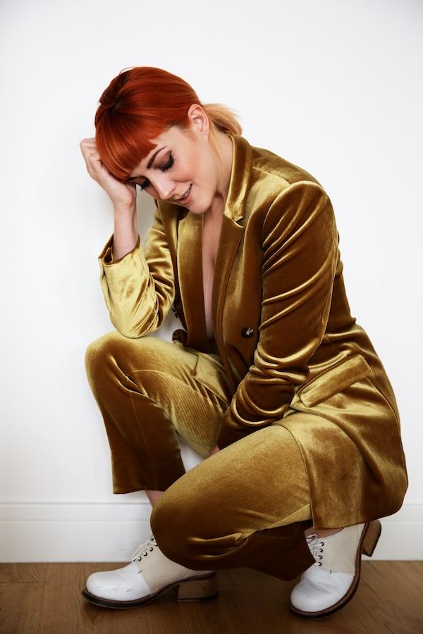 Lucie Loves Topshop Gold Velvet Suit 2