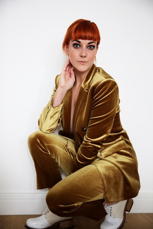 Lucie Loves Topshop Gold Velvet Suit 3