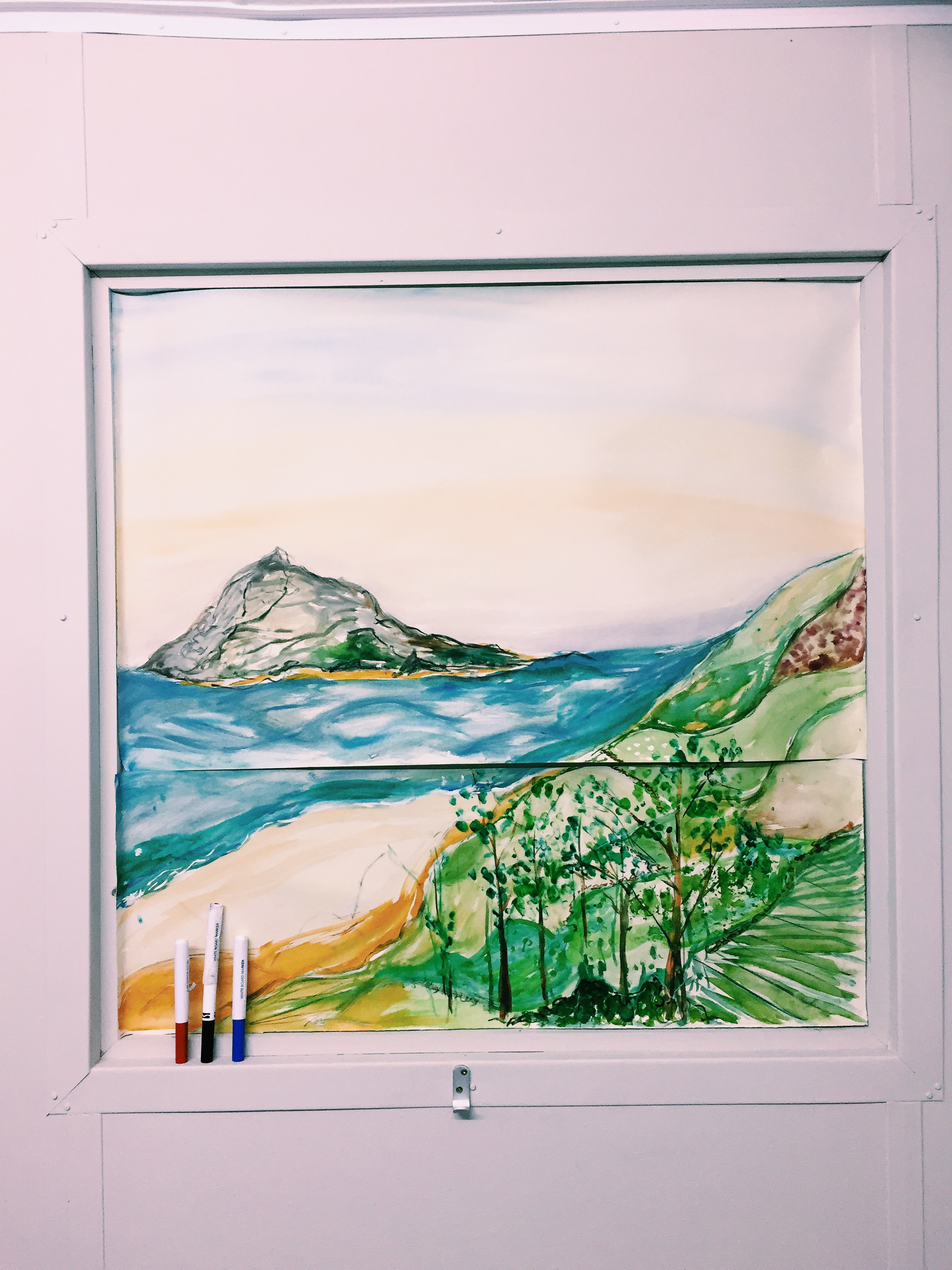The isolation pods had no windows – so I decided to paint myself a view instead. Thank goodness for that big fat roll of lining paper... It came in handy as an exercise mat, paper to create a journal and art canvases too.
