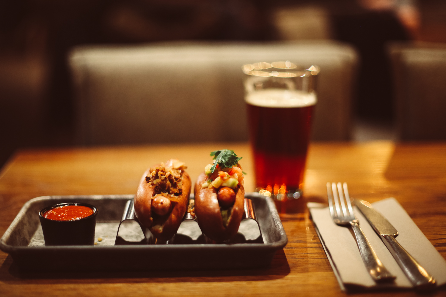 Hot dogs for dinner at Campfire – Downtown Camper by Scandic's hotel restaurant