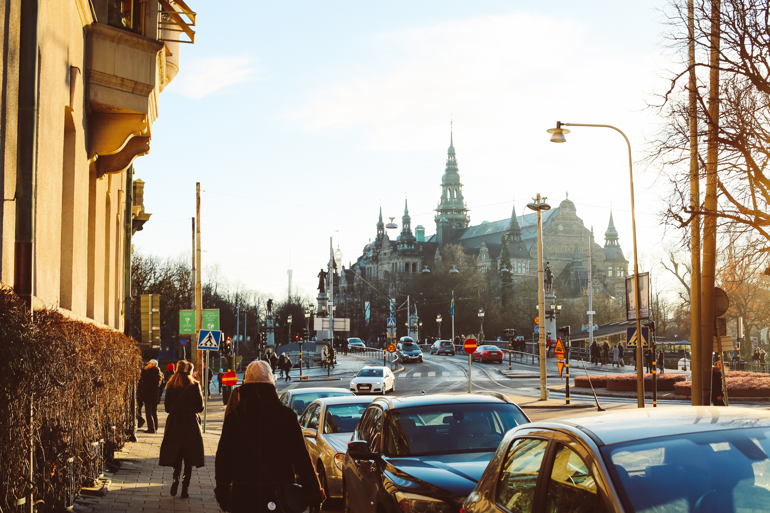 Walking to the Vasa Museum on a sunny day in Stockholm