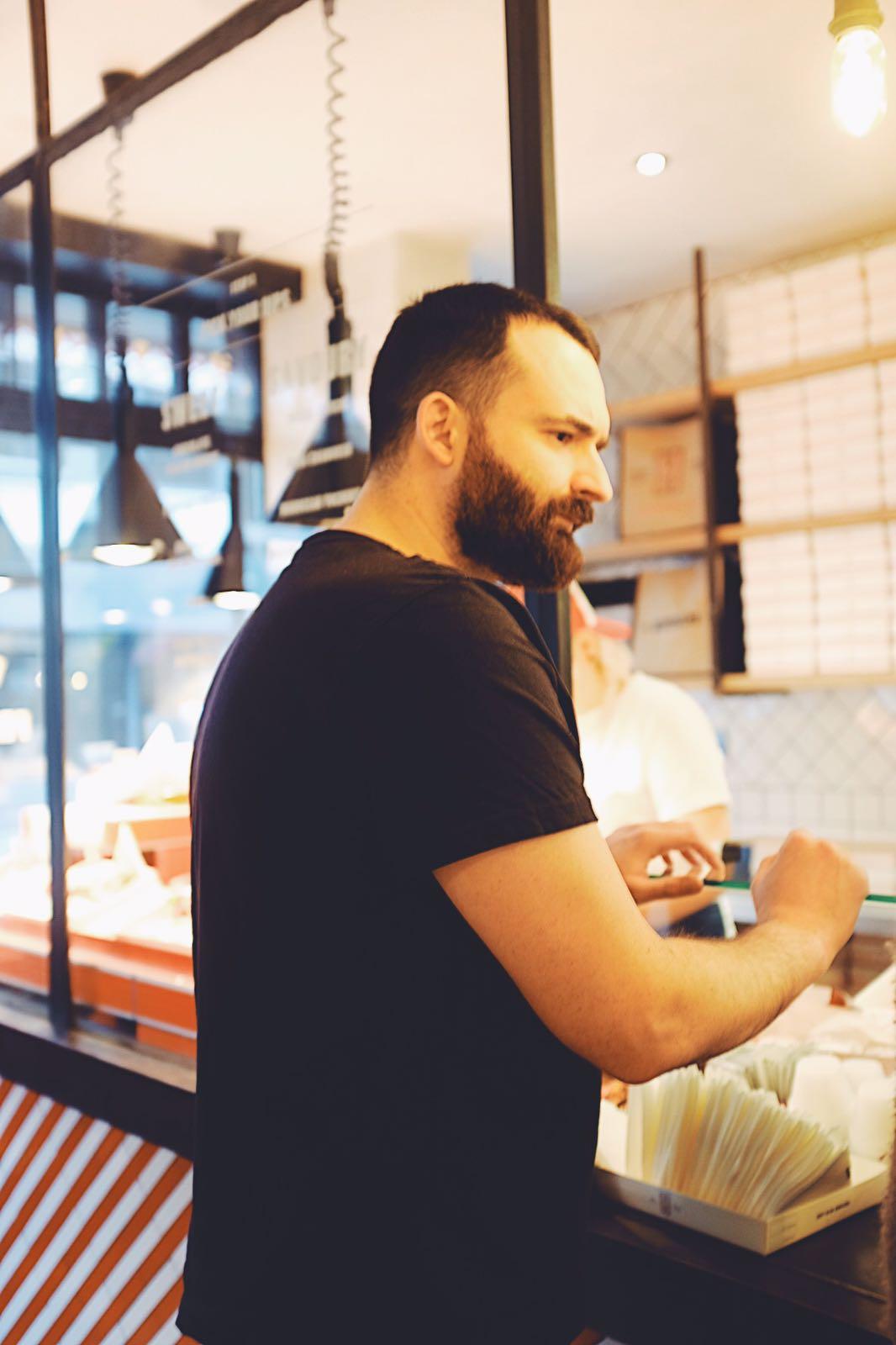 James choosing his Hipchips at their Soho restaurant