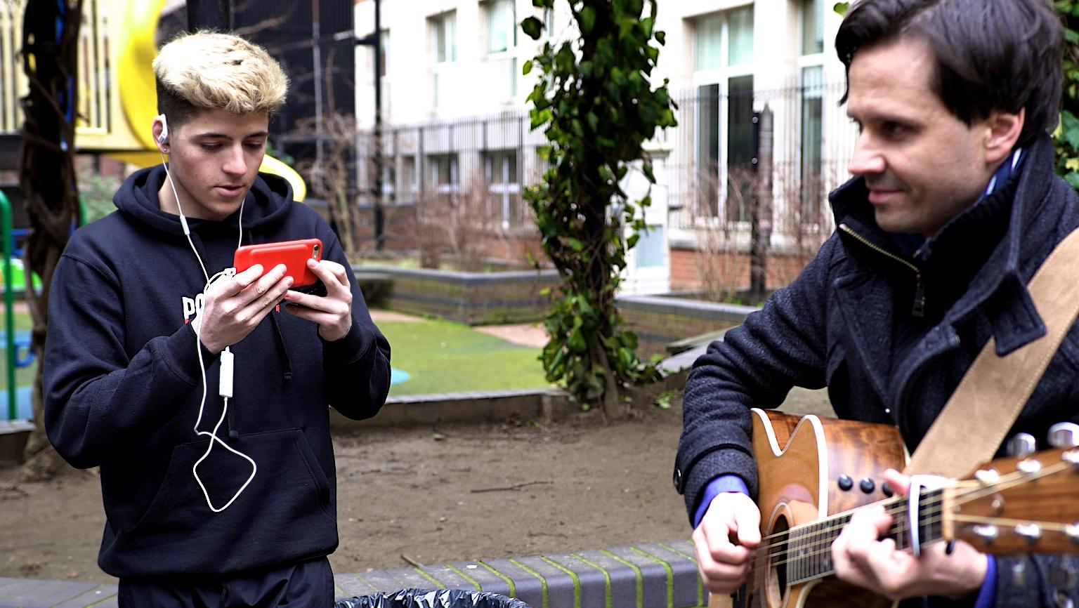 YouTuber Ben Morris  records vlog of musician using Sennheiser AMBEO smart headset