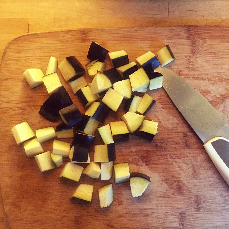 diced aubergine