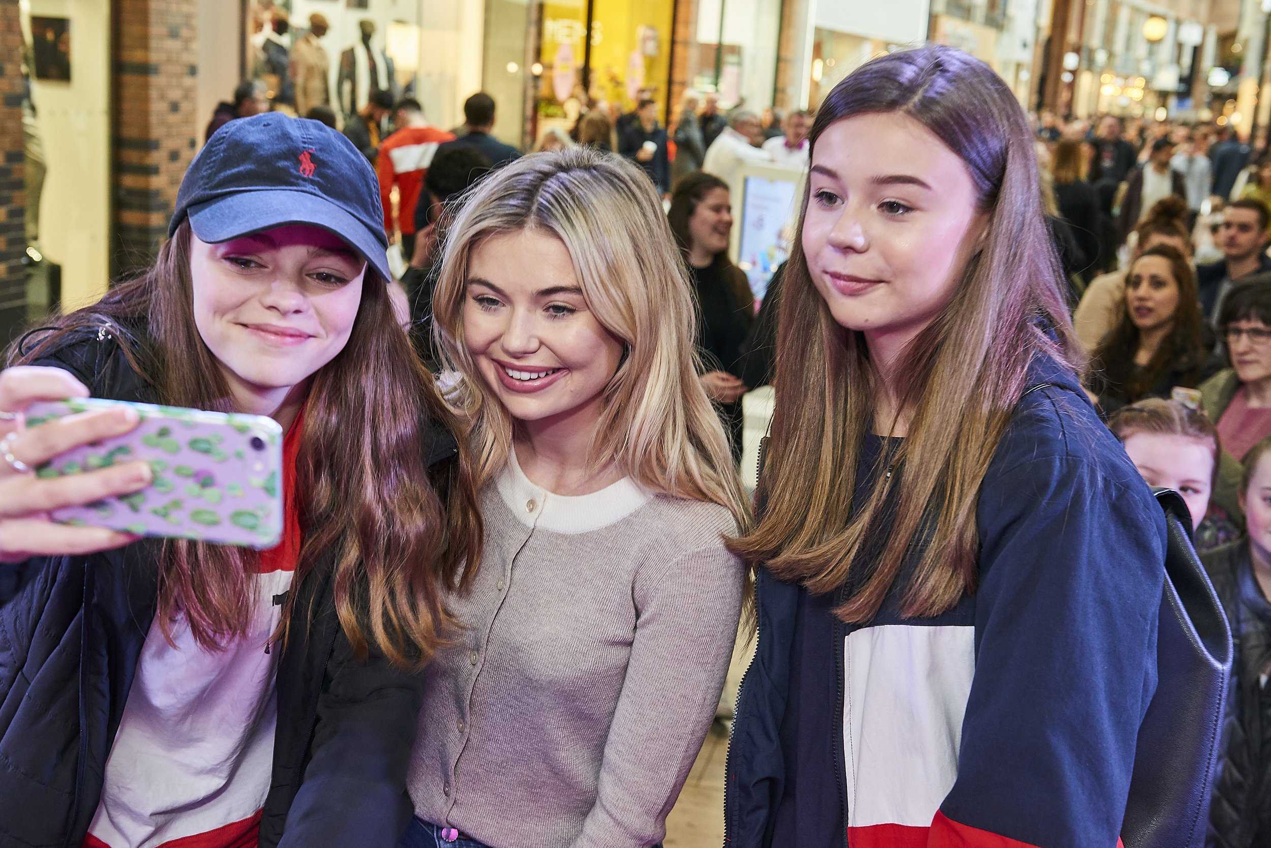 Toff takes a selfie or two with her fans at Touchwood, Solihull