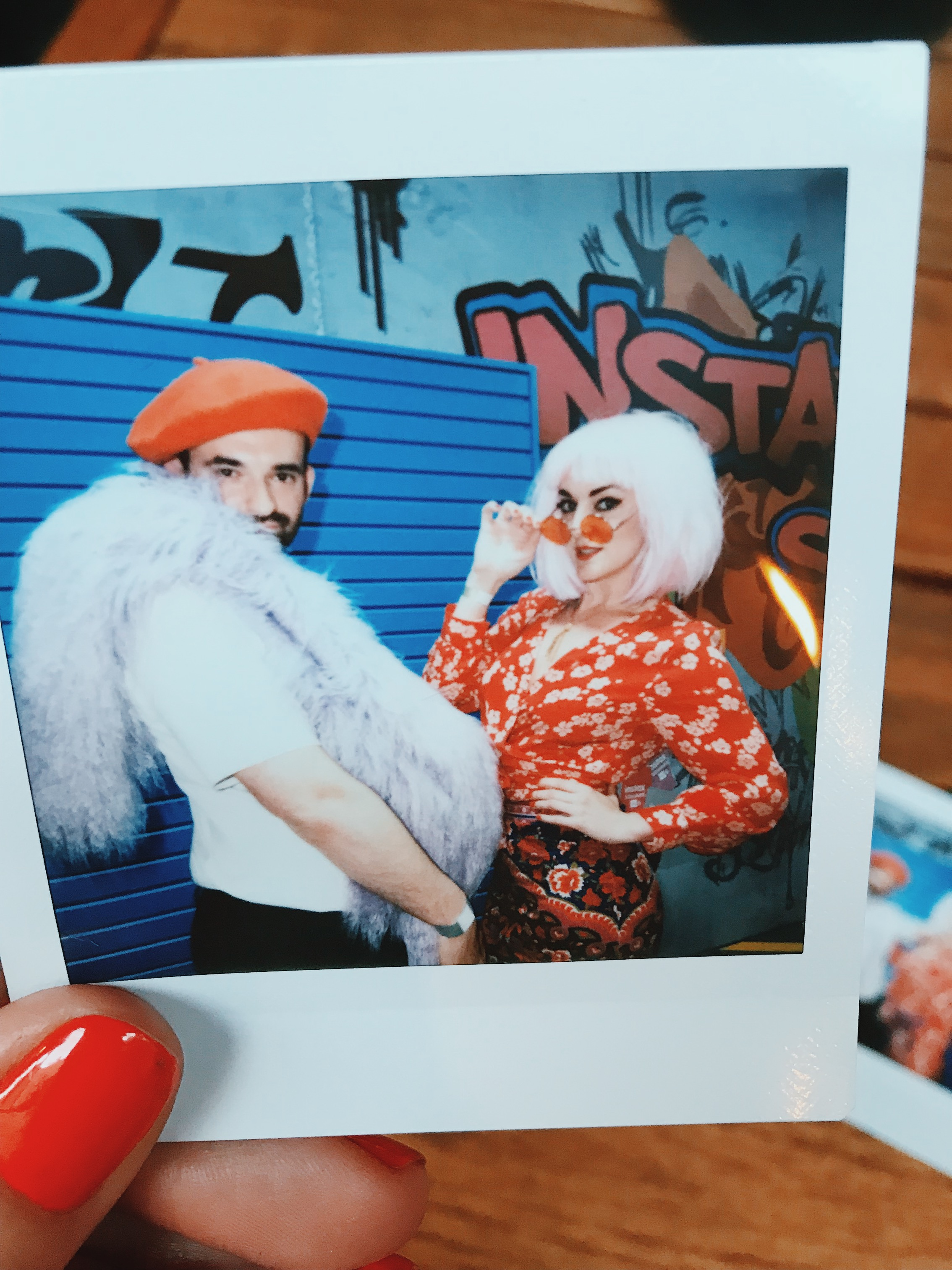 James Barley and me, playing dress-up at the Instax SQ6 launch – photo taken using the new Instax SQ6 camera