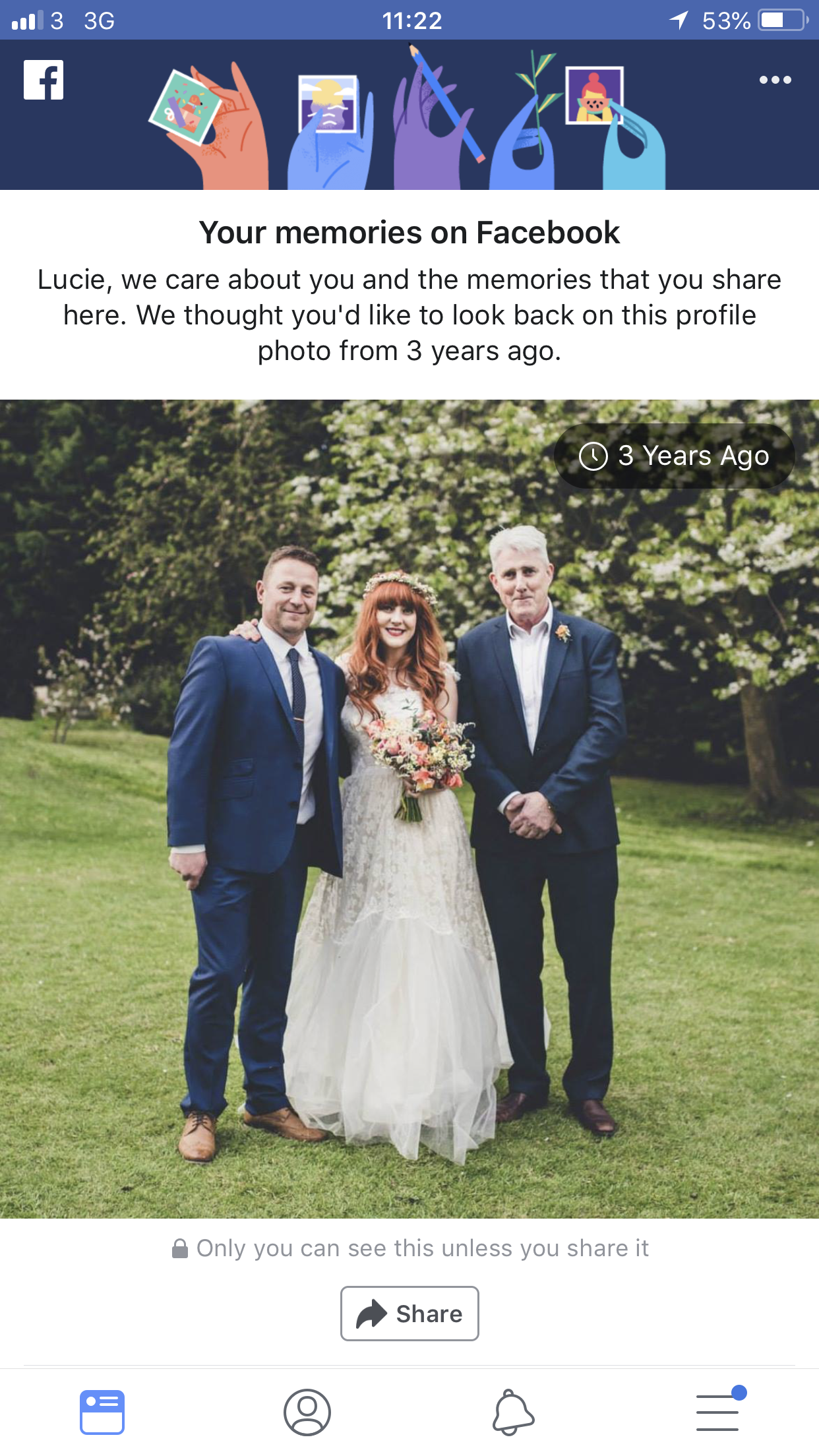 Oh Facebook memories... 🙇‍♀️ To be fair,  my wedding day  was one of the best days of my life. I feel incredibly grateful to have been standing in a room filled with so much love.