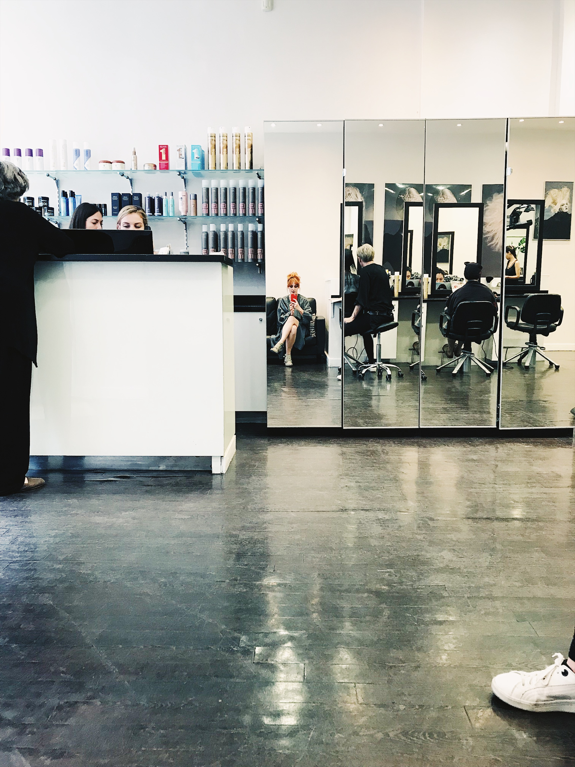 Waiting for my hair transformation at Steven Carey Hair, London