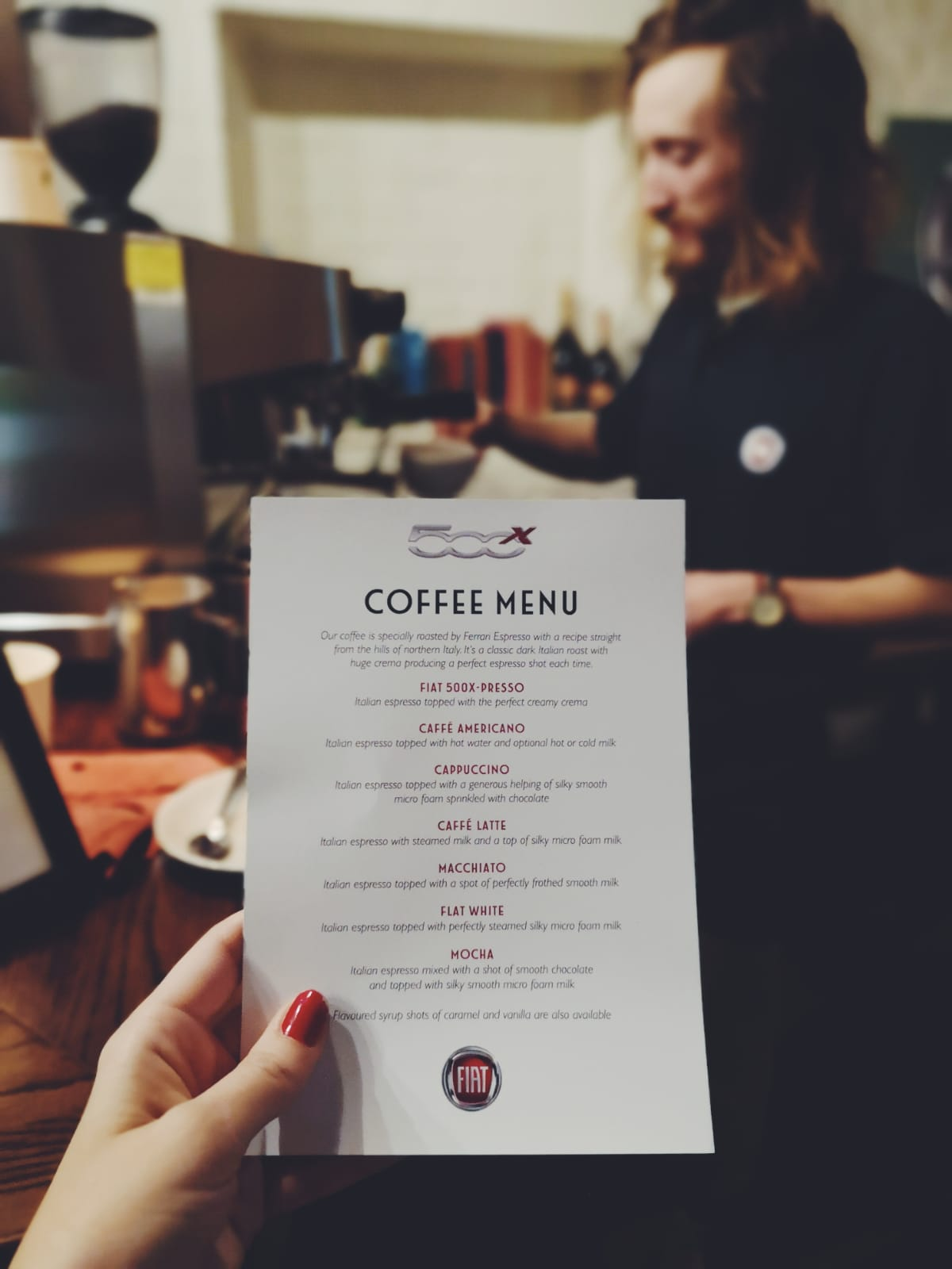 The specially-crafted Fiat 500x Italian barista and coffee menu. Mine's a flat white, please. 💁‍♀️