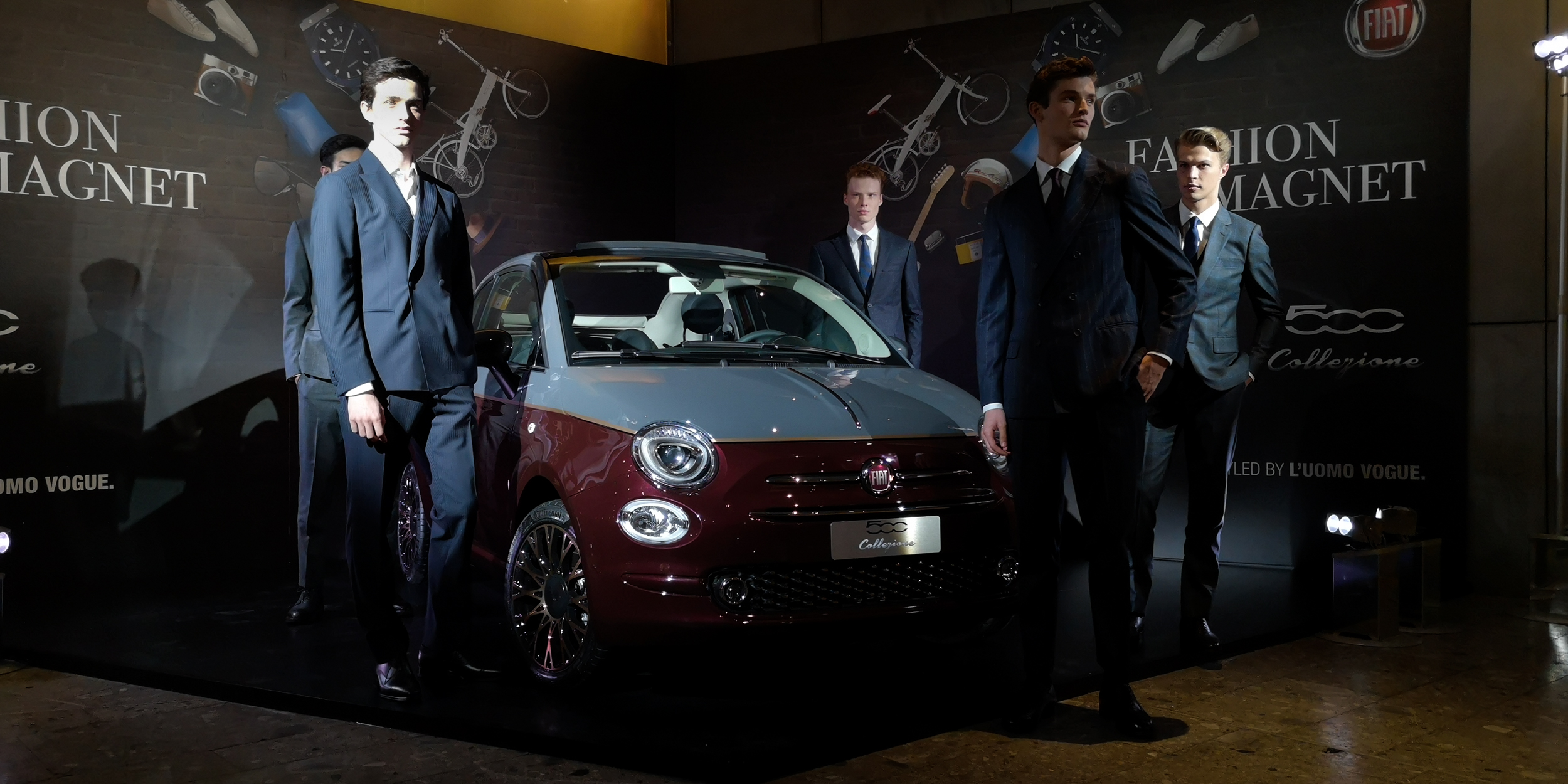 Strike a pose! Male models in Milan at the Fiat 500 Collezione Launch