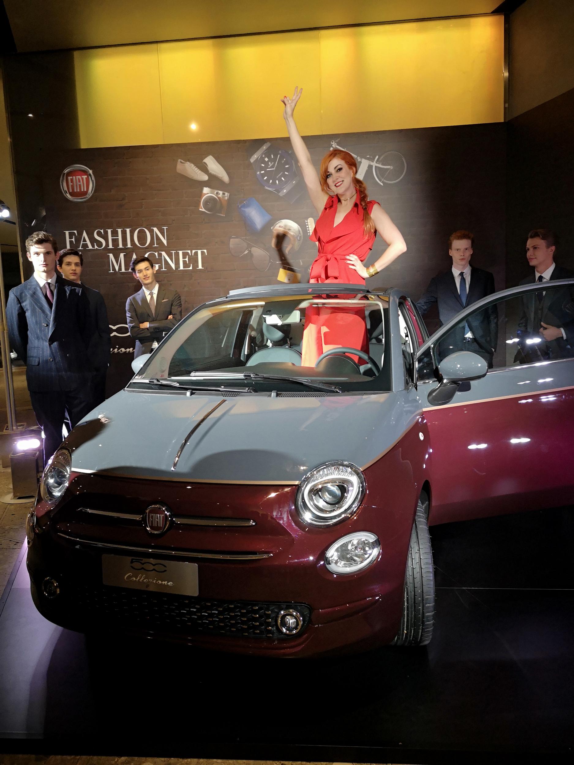 Fiat 500 Collezione – the new cinquecento in it's L'Uomo Vogue fall fashion colours of deep Bordeaux burgundy and grey.