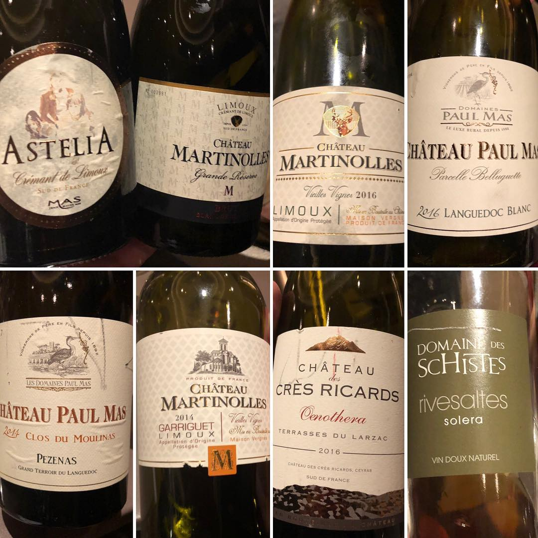 The selection of Paul Mas Wines we tasted with each course of our dinner at Franck Putelat's 2-star Micehlin rated Le Parc restaurant. Photo credit:  Sumilertasting