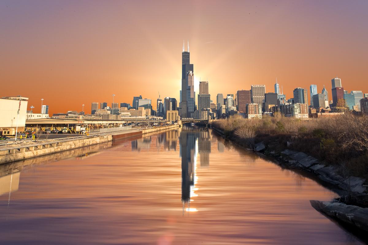 Sear Tower Reflection Sunrise.jpg
